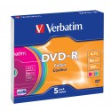 Verbatim DVD-R Colour 4,7 GB 5 kpl