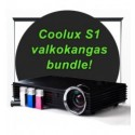 Coolux S1 projektori + kangas + HDMI kaapeli