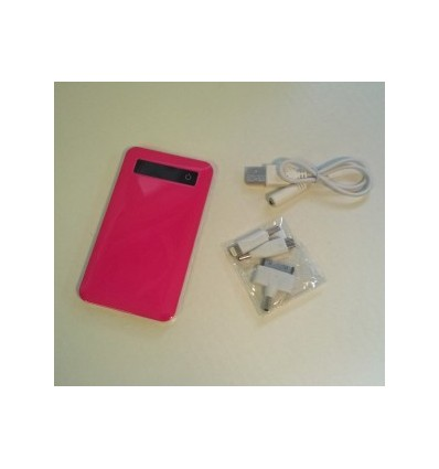 City- Power Bank, Capacity 4000mah Pink Accessories 1 USB cable, Adapter x 3