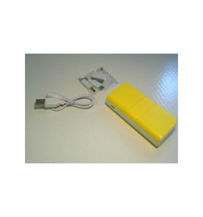 City- Power Bank, Capacity 5600mah Yellow Accessories 1 USB cable, Adapter x 3