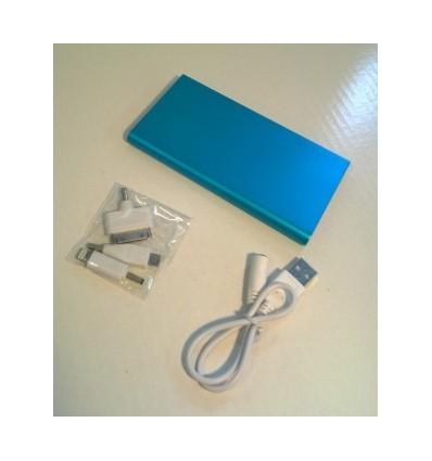 City- Power Bank, Capacity 6000mah Blue Accessories 1 USB cable, Adapter x 3