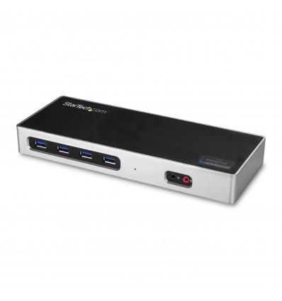 StarTech.com DK30A2DH USB 3.0 (3.1 Gen 1) Type-C Musta, Hopea kannettavien tietokoneiden telakka ja