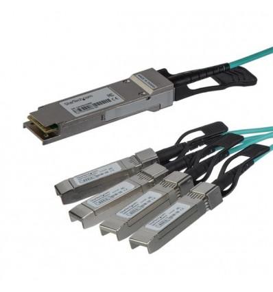StarTech.com QSFP4X10GAO5 valokuitukaapeli 5 m QSFP+ 4x SFP+ Musta