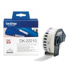 Brother DK-22210 etikettien kirjoitusnauha Musta valkoisella