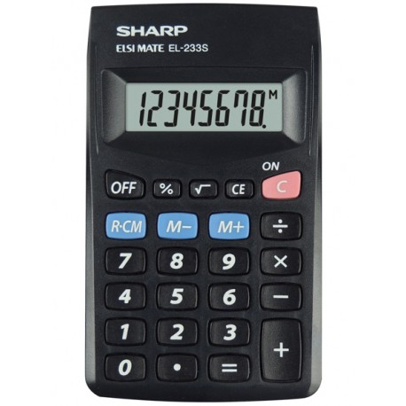 Sharp EL-233S laskin Tasku Perus Musta